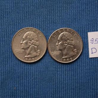 США 25 центов квотер 1995 г  D
