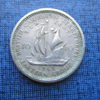 монета 10 центов Карибские штаты 1965 корабль парусник