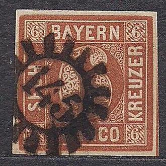Бавария, немецкие земли, 1850 г., марка № 4, тип 2, акция!!!, 20% каталога