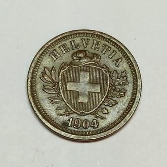 1 раппен 1904 года В, идеал! Люкс! Редкая монета в очень редком сохране