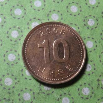 Корея 2008 год монета 10 вон