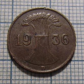 Германия, 1 рейхспфенниг 1936 г Копна пшеницы.