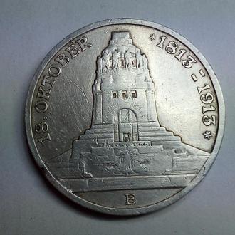 Германия . Саксония, 3 марки 1913 г.100-летие битвы при Лейпциге. Фридрих Август III Состояние