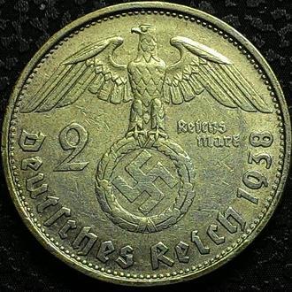 Германия 2 марки 1938 В год Серебро СВАСТИКА!!! 3 РЕЙХ!!! СОХРАН!!!