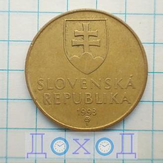 Монета Словакия 1 крона 1993 Сталь с бронзовым покрытием магнит