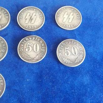 50 рейхсшиллингов 1938, 39, 40 года. Третий рейх.