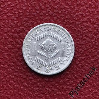 Южная Африка 6 пенсов 1948 серебро № 2