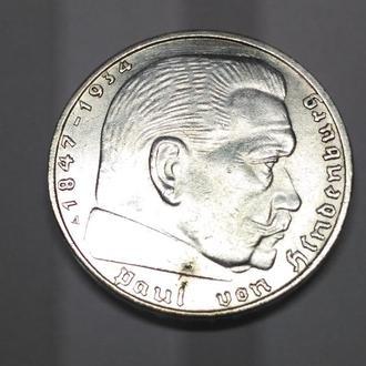 2 марки, 1939 A,  UNC, Третий Рейх, серебро, Оригинал! Вес ровно 8.00 гр. Штемпельная!
