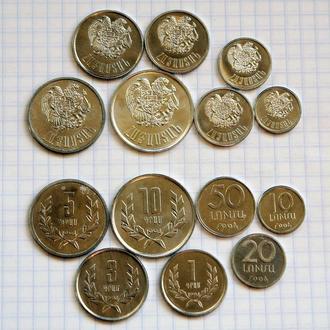 АРМЕНИЯ - набор монет первого выпуска 1994 года 7сет