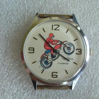 Часы Чайка Мотоциклист 26 Мотоцикл Гонщик СССР