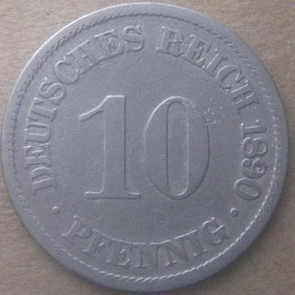 Германия 10 пфенниг 1890 год (A)