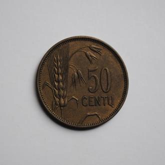 Литва 50 центов 1925 г., UNC, 'Первая Республика (1925-1938)'