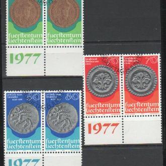 ЛИХТЕНШТЕЙН.1977 Серия в сцепках Munzen (I) 677-679(отличное состояние клея) КЦ 4Є