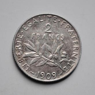 Франция 2 франка 1909 г., РЕДКИЙ ГОД