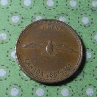 Канада 1967 год монета 1 цент !