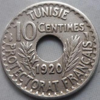 Тунис  10 сантимов 1920 Французский протекторат