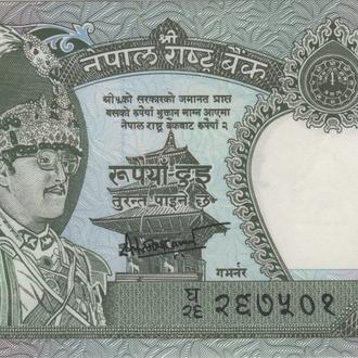 Непал 2 рупии 1991г. в UNC из пачки