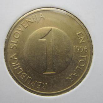 монета 1 толар Словения 1996 фауна рыбы