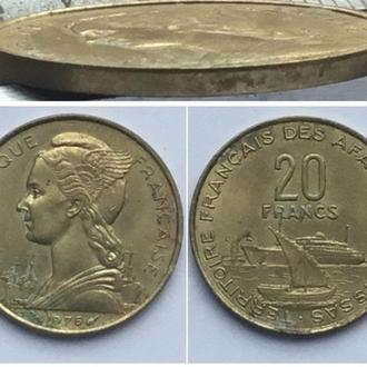 Французские афар и исса 20 франков, 1975г. / Период Заморская территория Франции (1968 - 1975)