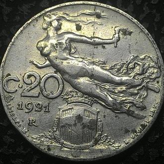 Италия 20 чентезимо 1921 год