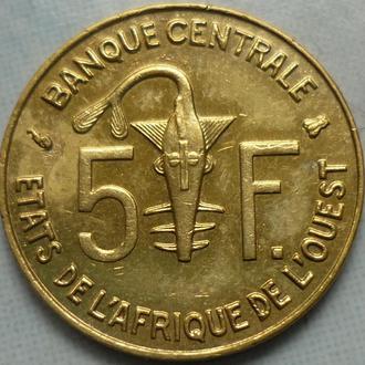 Западные Африканские тер-и 5 франков 1997 фауна
