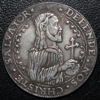 Осадный талер 1577 года Стефан Баторий Польша копия монеты в серебре
