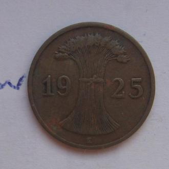 """ГЕРМАНИЯ. 1 рейхспфенниг 1925 года """"E""""."""
