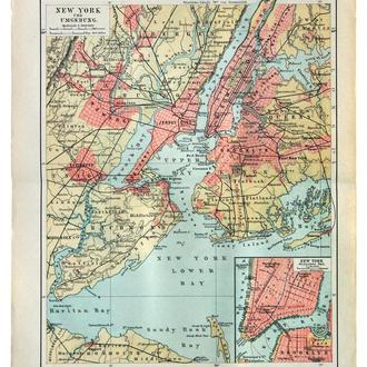 Карта Нью-Йорк и окрестности 1893–97 Германия Fv8.8