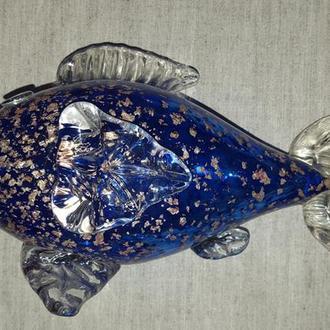 "Скульптура ""Рыба"". Муранское стекло с вкраплениями золота"