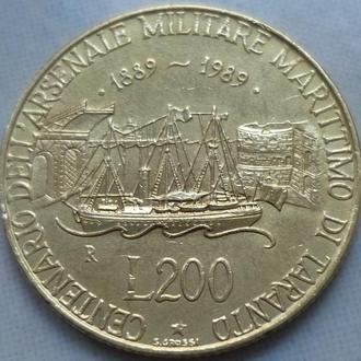 Италия 200 лир 1989 юб. парусник