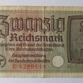 Германия 20 рейхмарок 1942 год
