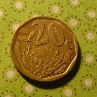 ЮАР 1997 год монета 20 центов Африка ПАР !