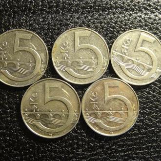 5 крон Чехія (порічниця), 5шт, всі різні
