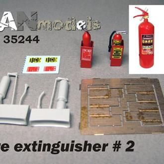 Danmodel 35244 - огнетушители на подставке.№2 Смола. травление, декаль. В наборе 4 шт 1/35, 1/48