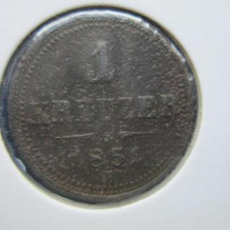монета 1 крейцер Австро-Венгрия 1851 В