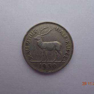 """Британский Маврикий 1/2 рупии 1950 George VI """"Stag"""" (Олень) состояние очень редкая"""