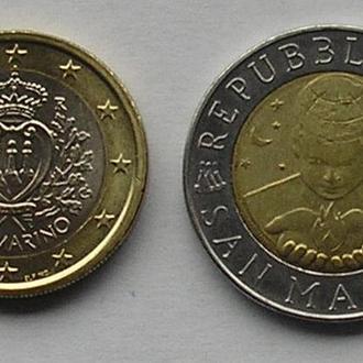 Сан-Марино 1 евро 2009 + 500 лир 1999 космос