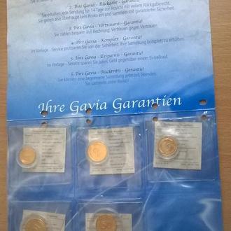 Набор позолоченых монет ГЕРМАНИЯ ( ФРГ ) 1, 2, 5, 10, 50 пфенингов