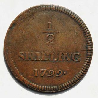 Швеция 1/2 скиллинга 1799 г., 'Король Густав IV Адольф (1792-1809)', РЕДКАЯ, СОСТОЯНИЕ