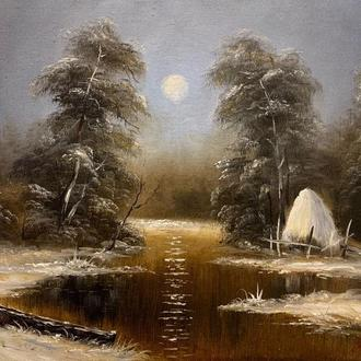 "Картина маслом на холсте""Зимний вечер"""