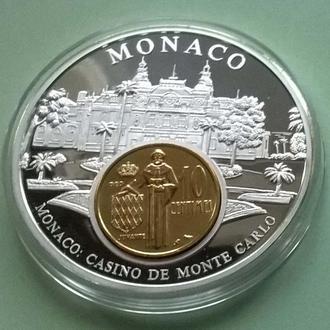 """10 centimes 1974 года желтые в медале """" Деньги Европы: МОНАКО """" + сертификат"""