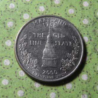 США 2000 год монета 25 центов квотер Америка Р !