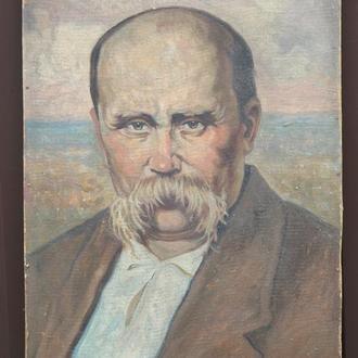 Автор неизвестный ,,Т.Г. Шевченко,, картон на фанере, масло. Размеры 67х48 см.