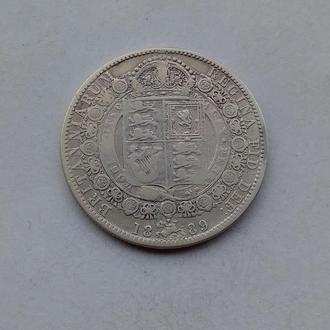1889 г - 1/2 кроны Великобритании,серебро