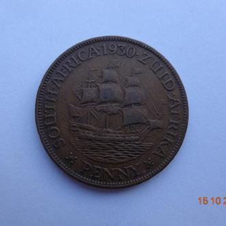 """Южная Африка 1 пенни 1930 George V """"Sailing ship"""" отличное состояние очень редкая"""