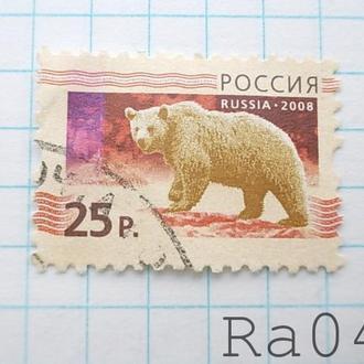 Марка почта Россия 2008 Медведь Фауна номинал 25 р