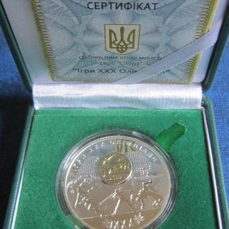 Монета 10 гривен Украина 2012 Iгри ХХХ Олiмпiади Серебро, позолота