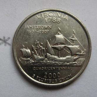 США 25 центов 2000 года (ШТАТ ВИРДЖИНИЯ).