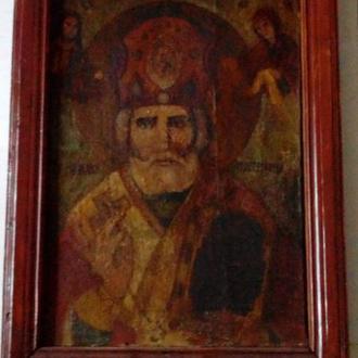 Церковная икона Святой Николай Чудотворец 19век, большая