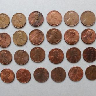 США. 1 цент, 60-2005г.г. 31 монета, разные года